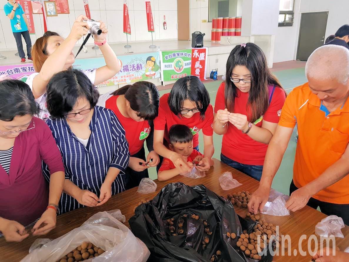 北台南家扶今邀請志工及其家人一同參與「甘苦體驗-剝龍眼乾」活動。記者謝進盛/攝影