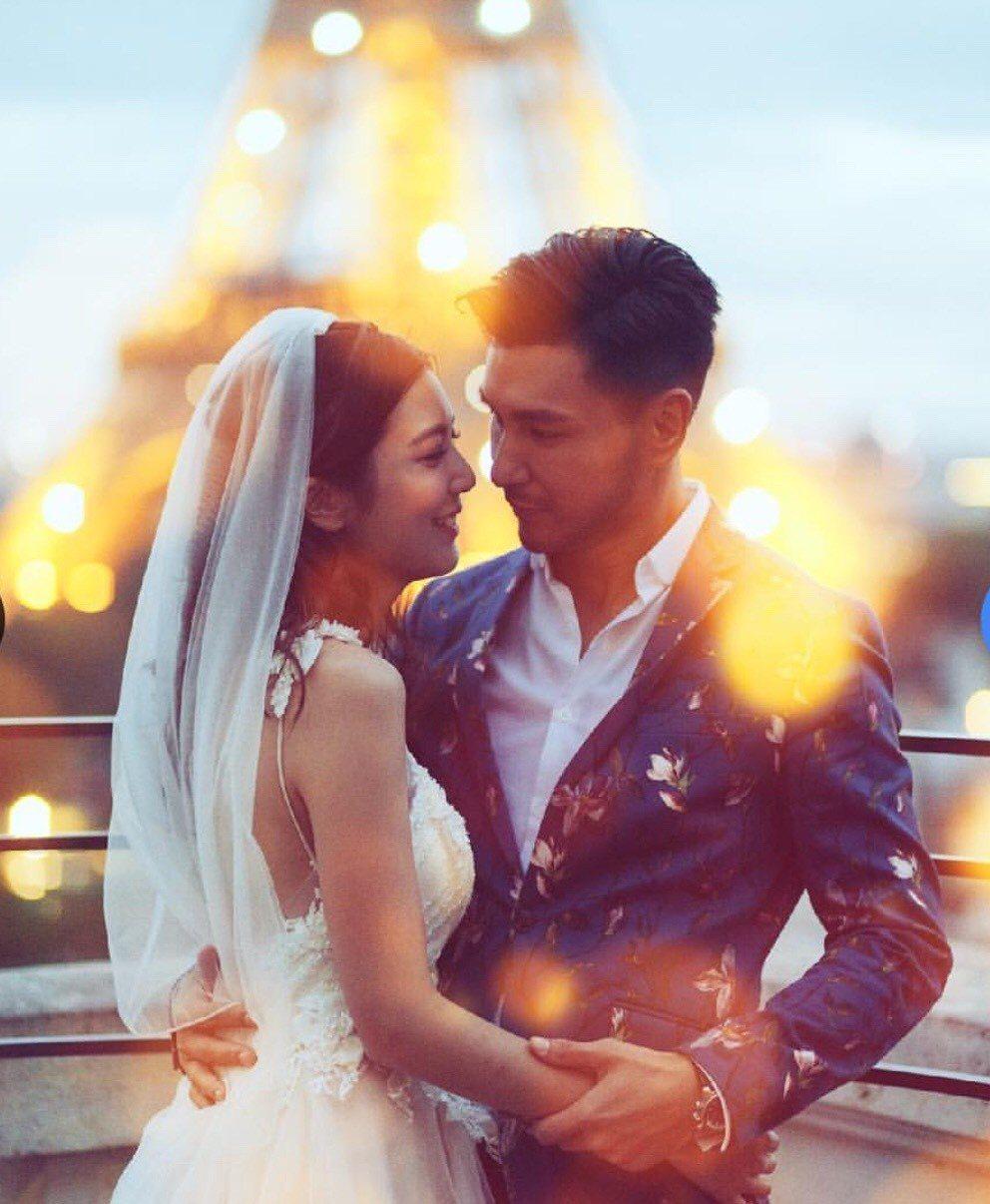 港星陳展鵬上個月迎娶小13歲備選港姐單文柔,認了奉子成婚。圖/摘自IG