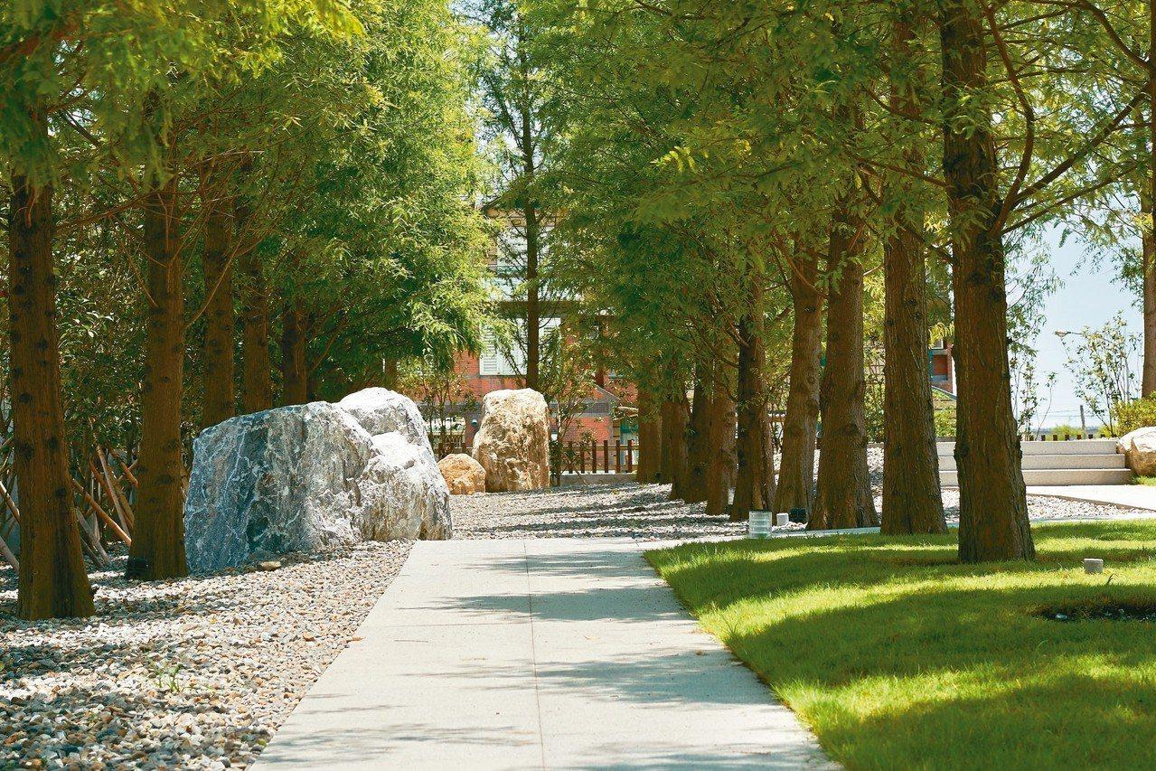 落羽松夾道,打造綠色樂齡家園。 圖/有行旅提供
