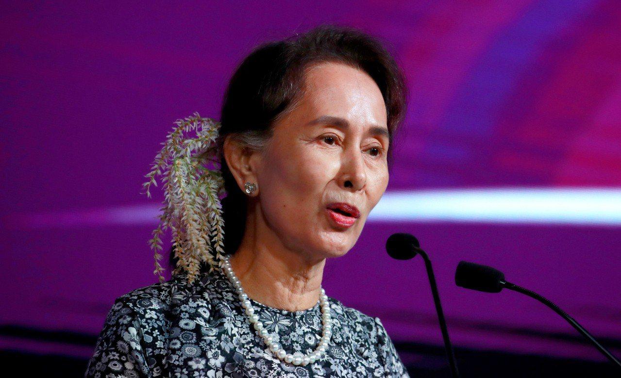 翁山蘇姬(Aung San Suu Kyi)。 歐新社