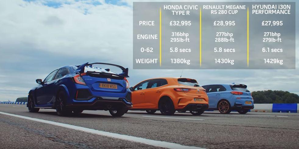 Civic Type R是三輛裡動力最強、車身最輕的車款。 摘自Top Gear