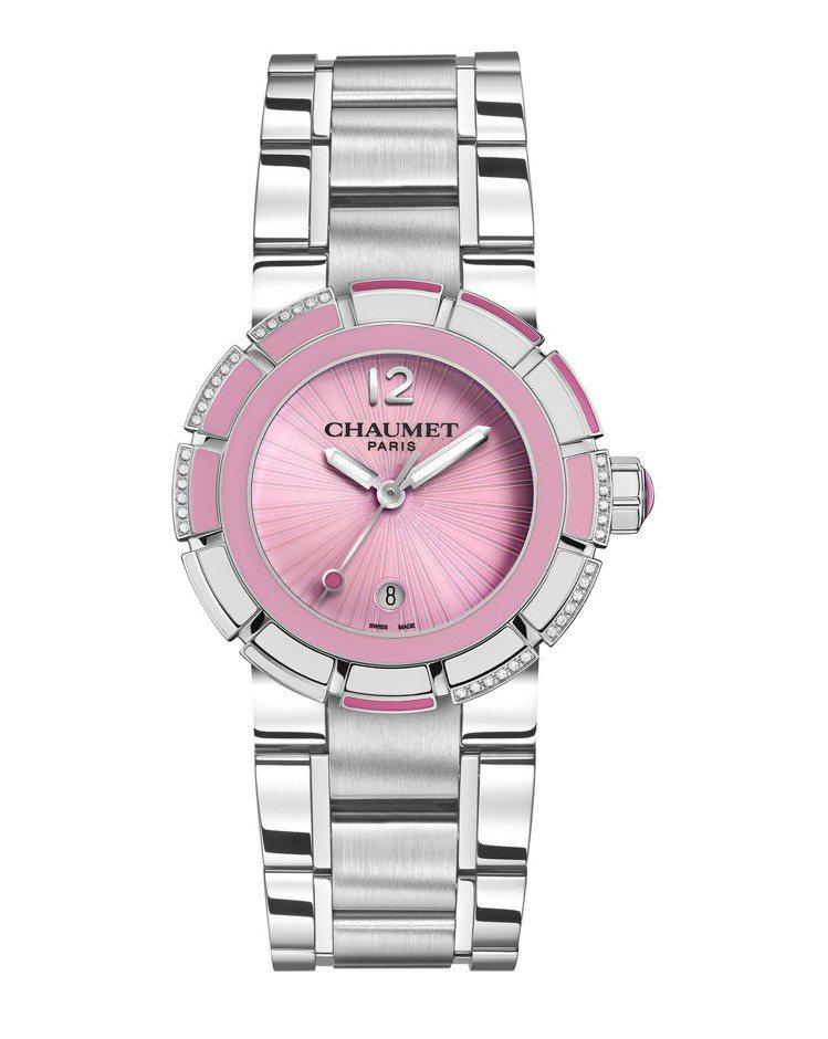 Chaumet Class One腕表,不鏽鋼表殼搭配漆面和鑲嵌鑽石表圈,具10...