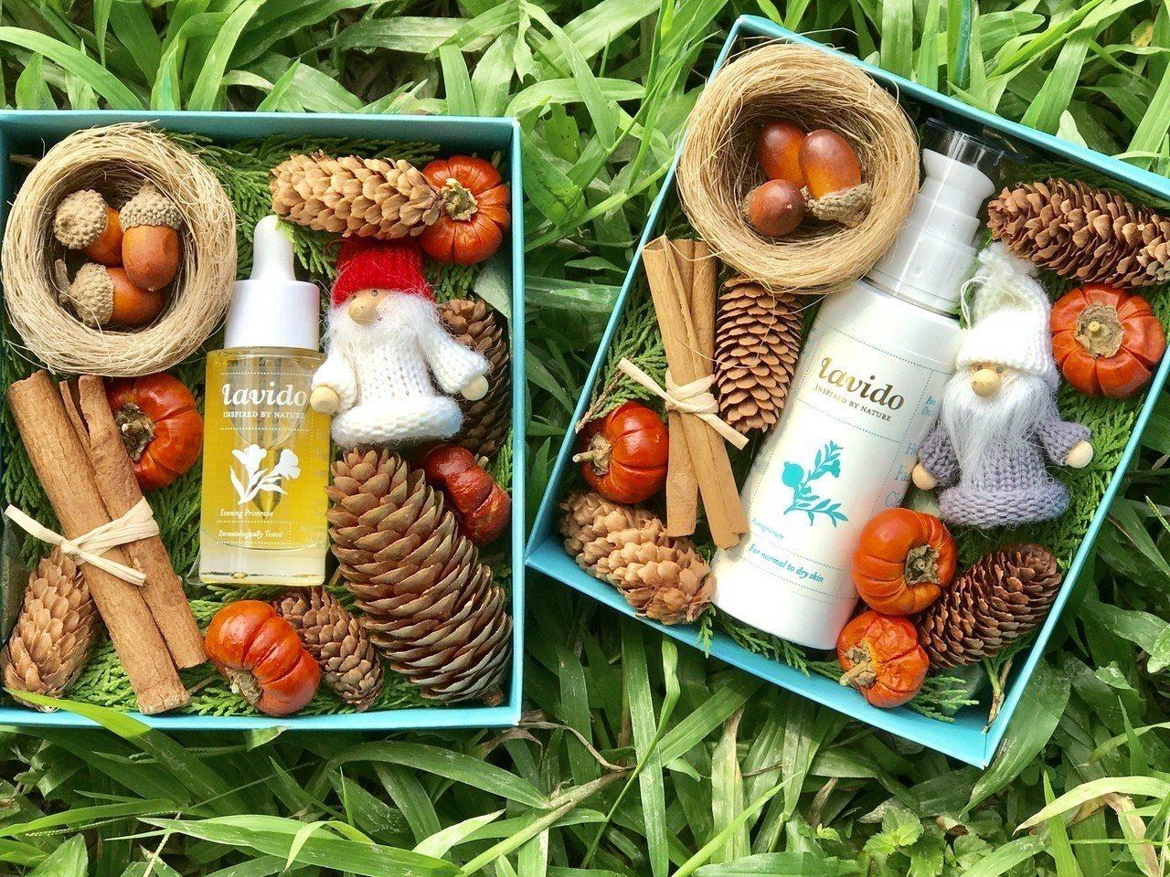 以色列lavido首次推出聖誕美妝禮盒,吹綠色環保風。 lavido/提供