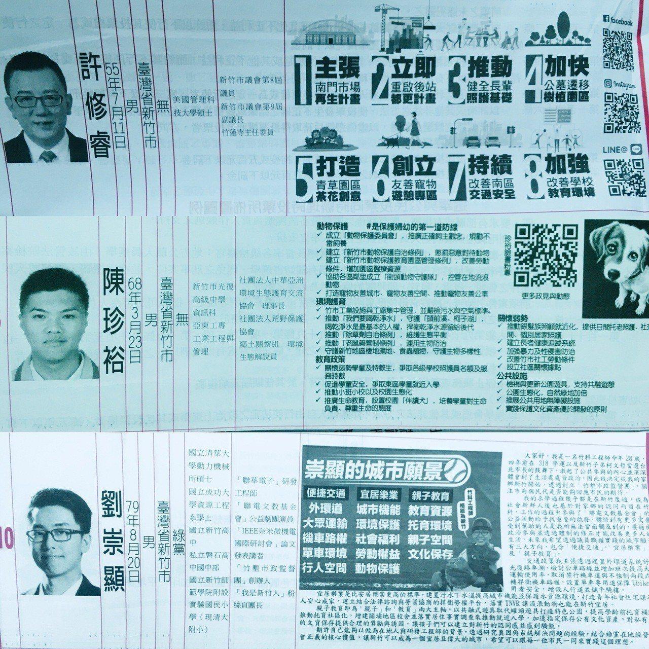 新竹市選舉公報以圖樣填滿政見的候選人。記者張雅婷/攝影