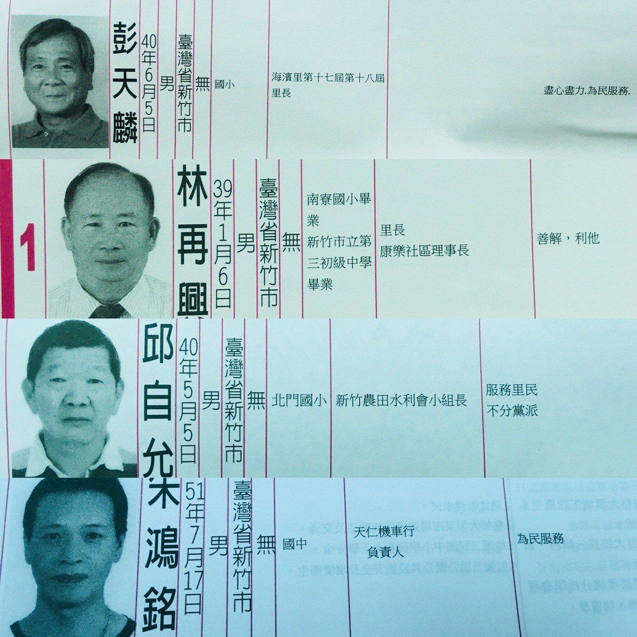 這次新竹市選舉公報中,里長的政見許多都不滿十個字。記者張雅婷/攝影