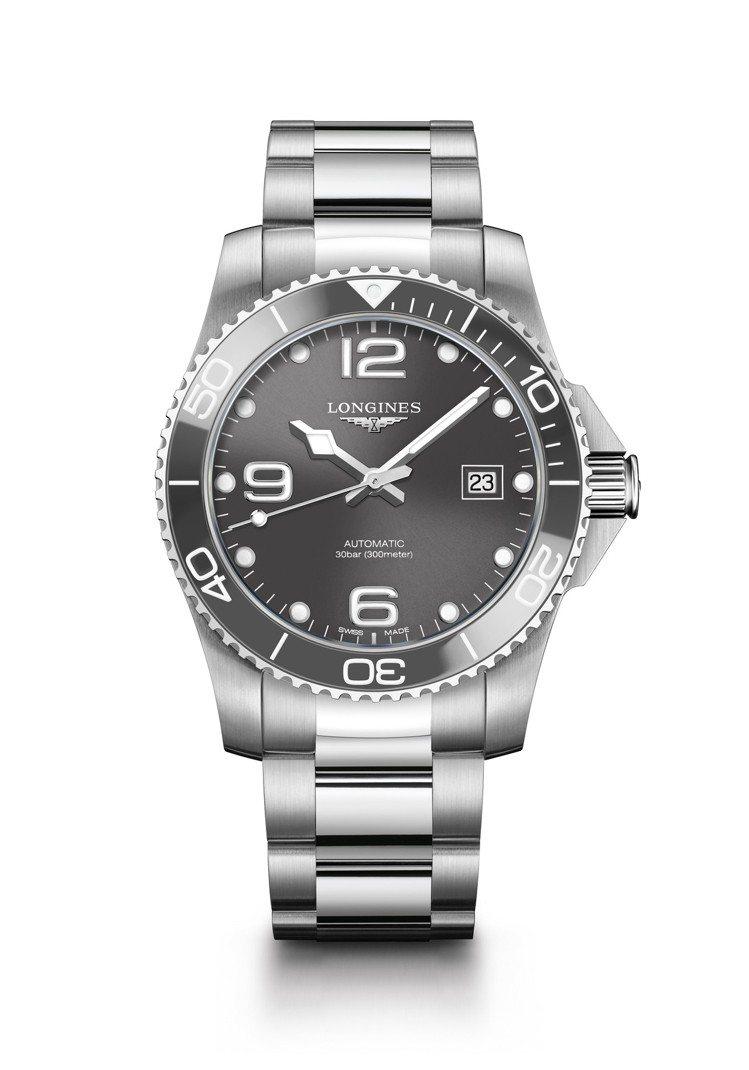 浪琴表HydroConquest深海征服者系列腕表,不鏽鋼表殼搭配灰色陶瓷表圈,...