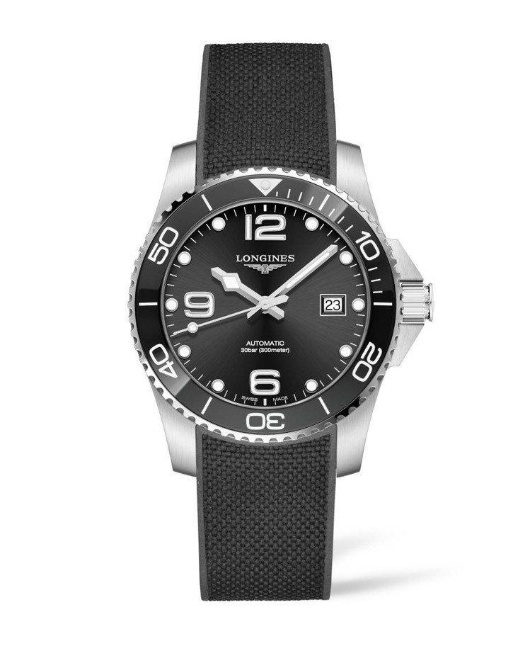 浪琴表HydroConquest深海征服者系列腕表,不鏽鋼表殼搭配黑色陶瓷表圈、...