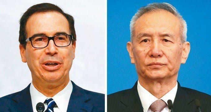 美國財政部長米努勤(左)中國副總理劉鶴(右)