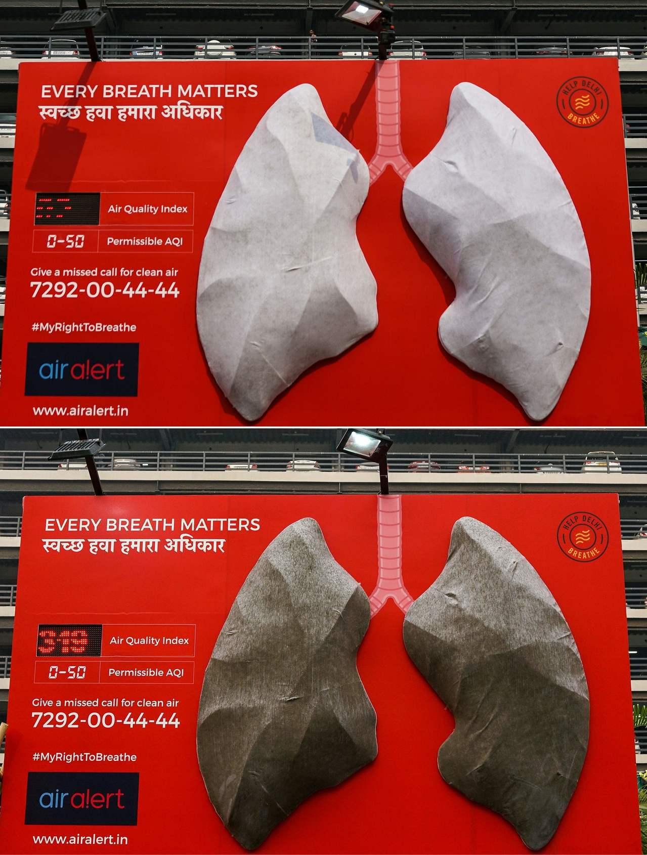印度新德里一間醫院掛出一對人工肺,不到10天就變成不健康的深褐色,以展示霧霾的致...