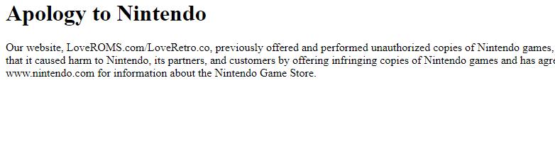 LoveROMS已經關閉,當訪問該網站時只出現道歉啟事。 截自LoveROMS