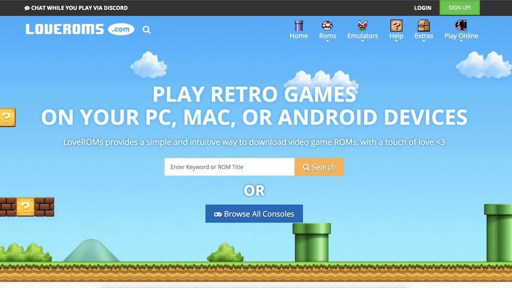 LoveROMS連網站介面都直接使用任天堂旗下遊戲的元素