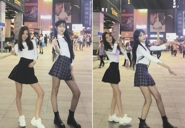 兩位正妹在街頭熱舞,你能發現其中有什麼奇特的地方嗎? 圖片來源/我叫Abbily...