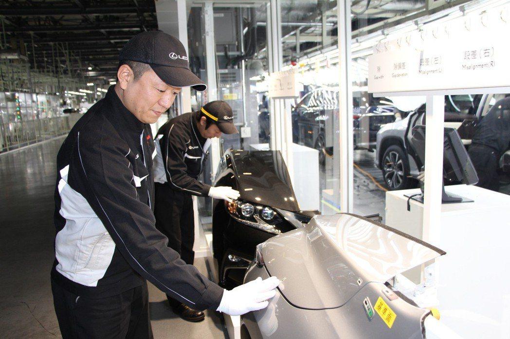 每天負責在總裝檢測線的工作人員,上工前也有一個「官能訓練機」需要通過測試。 圖/...