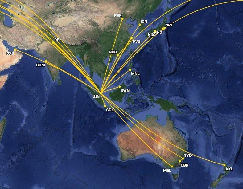 新加坡航空有頭等套房/頭等艙的亞太區航線,從雅加達 (CGK) 出發經由新加坡轉...