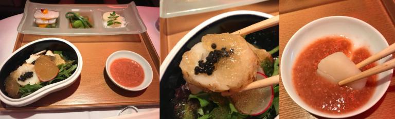 第一道(Sakizuke,先付):莫羅米味噌山菜、蘆筍鱸魚伴芥末蛋黃醋醬、土豆麵...