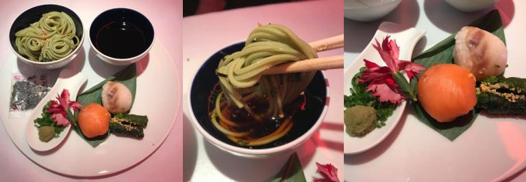 第二道(Oshinogi,御凌ぎ):綠茶麵配煙燻鮭魚,及紅鯛魚壽司伴油菜花芥末醬...