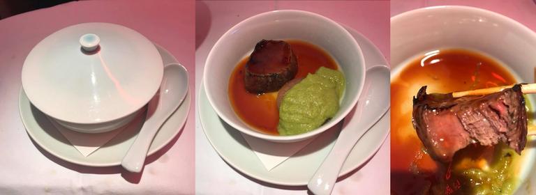 第三道(Futamono,蓋物):椒芽美國牛排配紅燒蘿蔔伴綠豌豆醬,平時不愛吃牛...