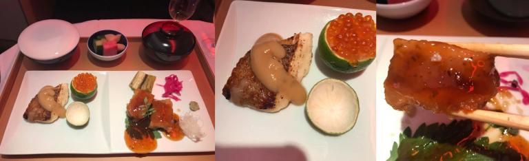 第四道(Yakimono,燒物):烤白味噌醬比目魚配鮭魚子金桔杯,柚子辣椒醬烤雞...