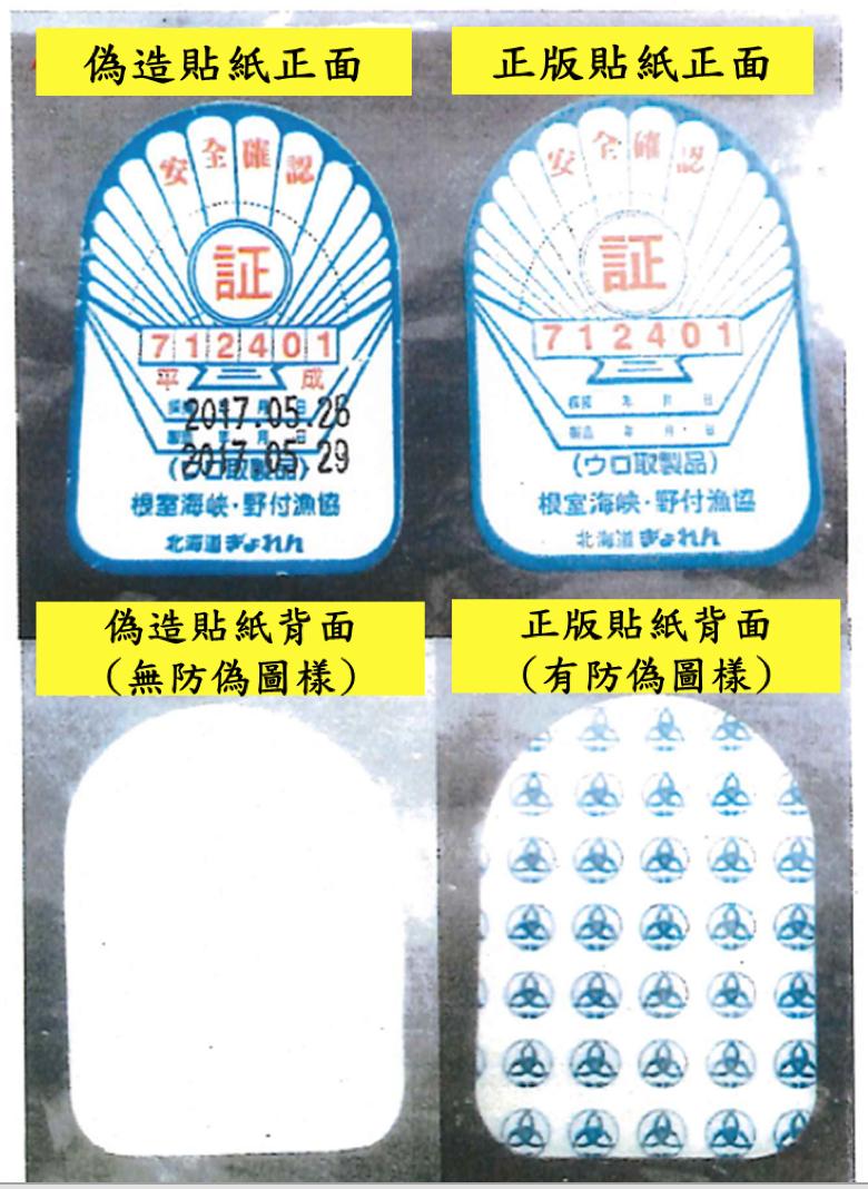 日本安全認證貼紙正版(右)及偽造品(左)對照。記者劉星君/翻攝