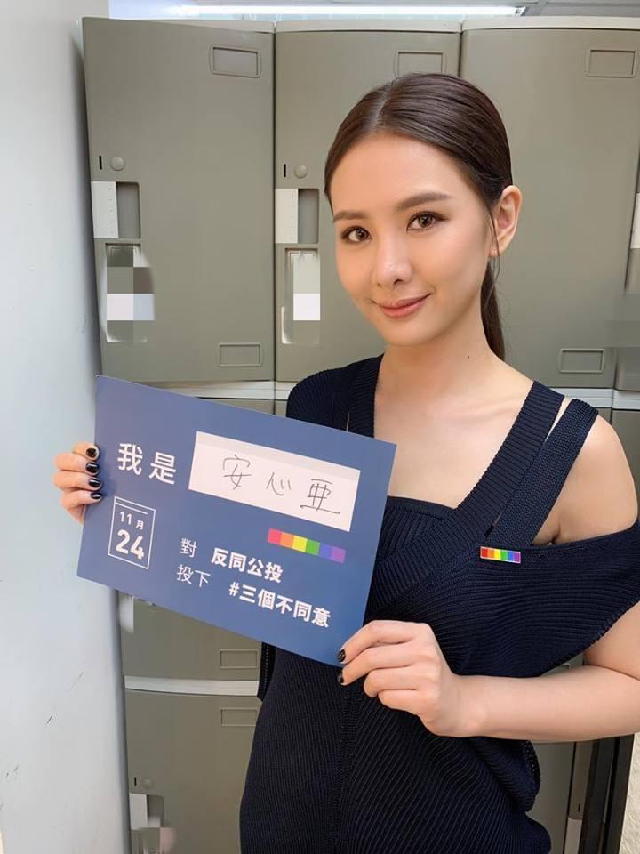 安心亞別上彩虹徽章挺同,號召民眾對反同公投案投下不同意票。圖/摘自臉書