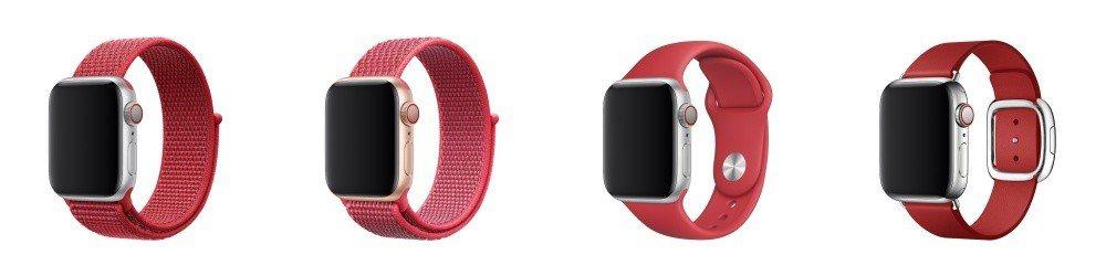 左起:(PRODUCT)RED紅色運動型錶環、扶桑花色款運動型錶帶、(PRODU...
