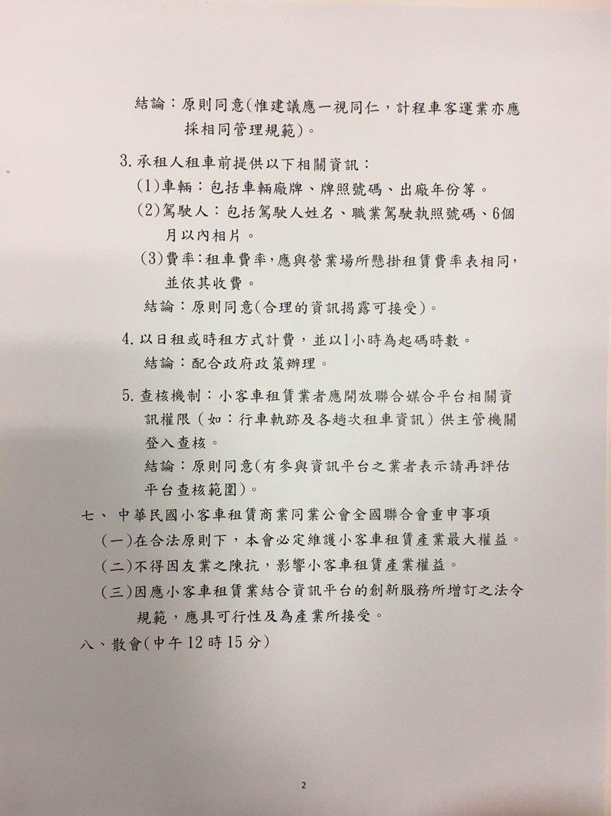 公路總局與小客車租賃業10月26日會議記錄。圖/讀者提供