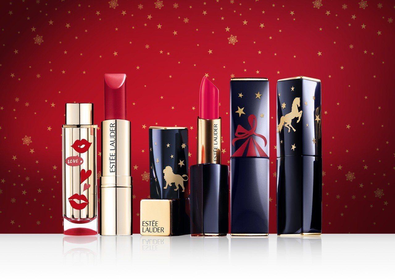 雅詩蘭黛客製專屬限量3D耶誕立體彩繪唇膏包裝。圖/雅詩蘭黛提供