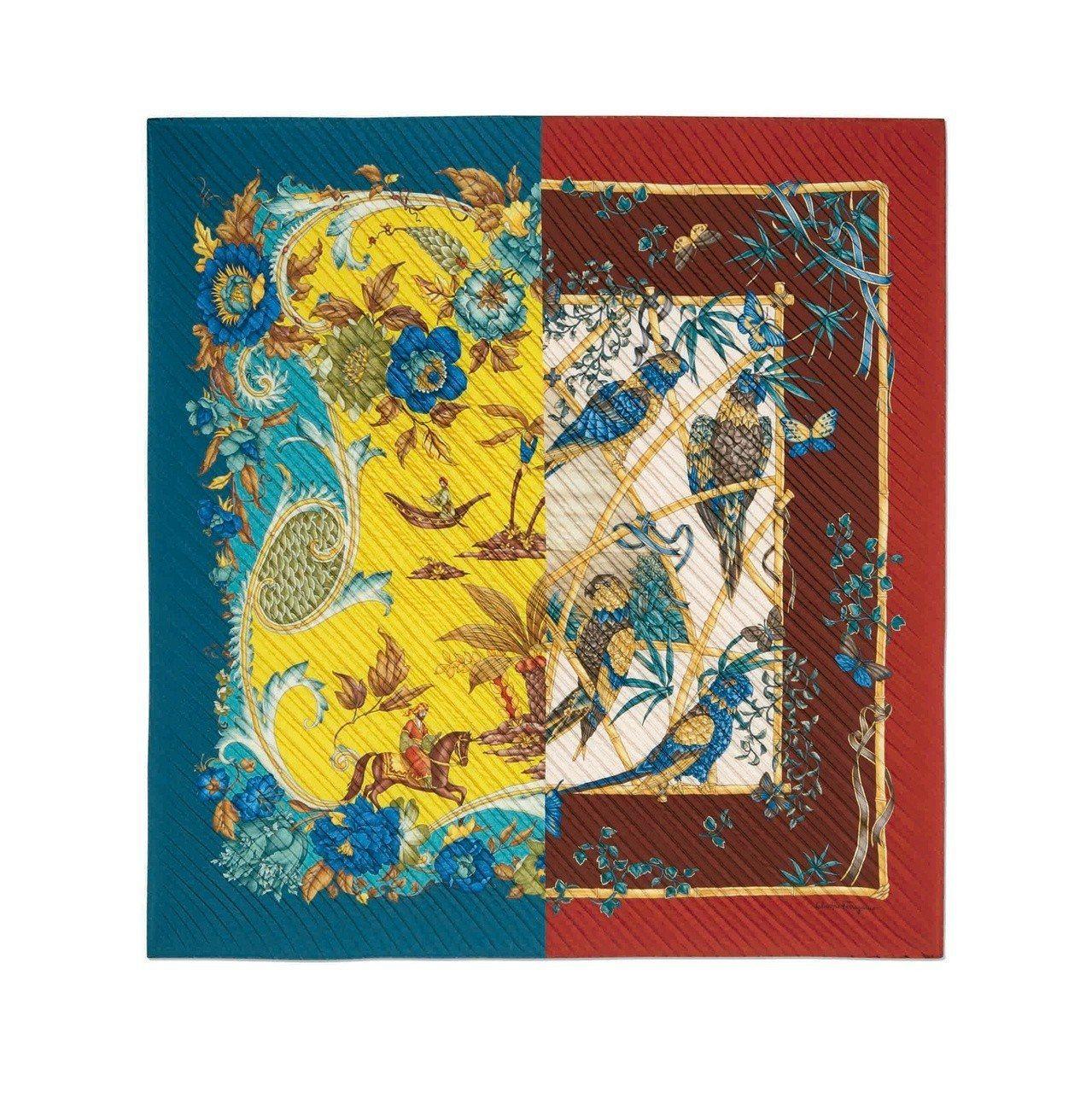 異色拼接絲巾,17,900元。圖/Ferragamo提供