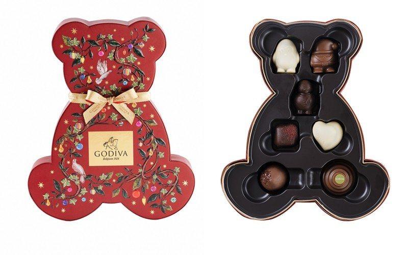 耶誕巧克力小熊禮盒7顆裝,售價1,200元。圖/GODIVA提供