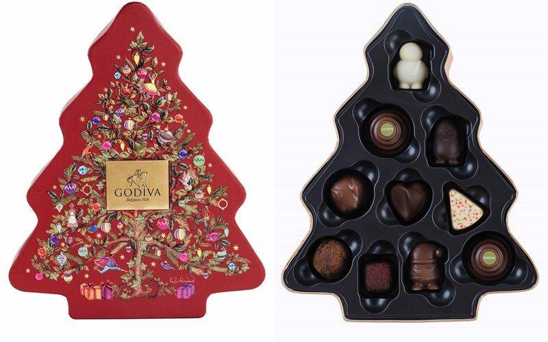 耶誕巧克力小樹禮盒10顆裝,售價1,500元。圖/GODIVA提供