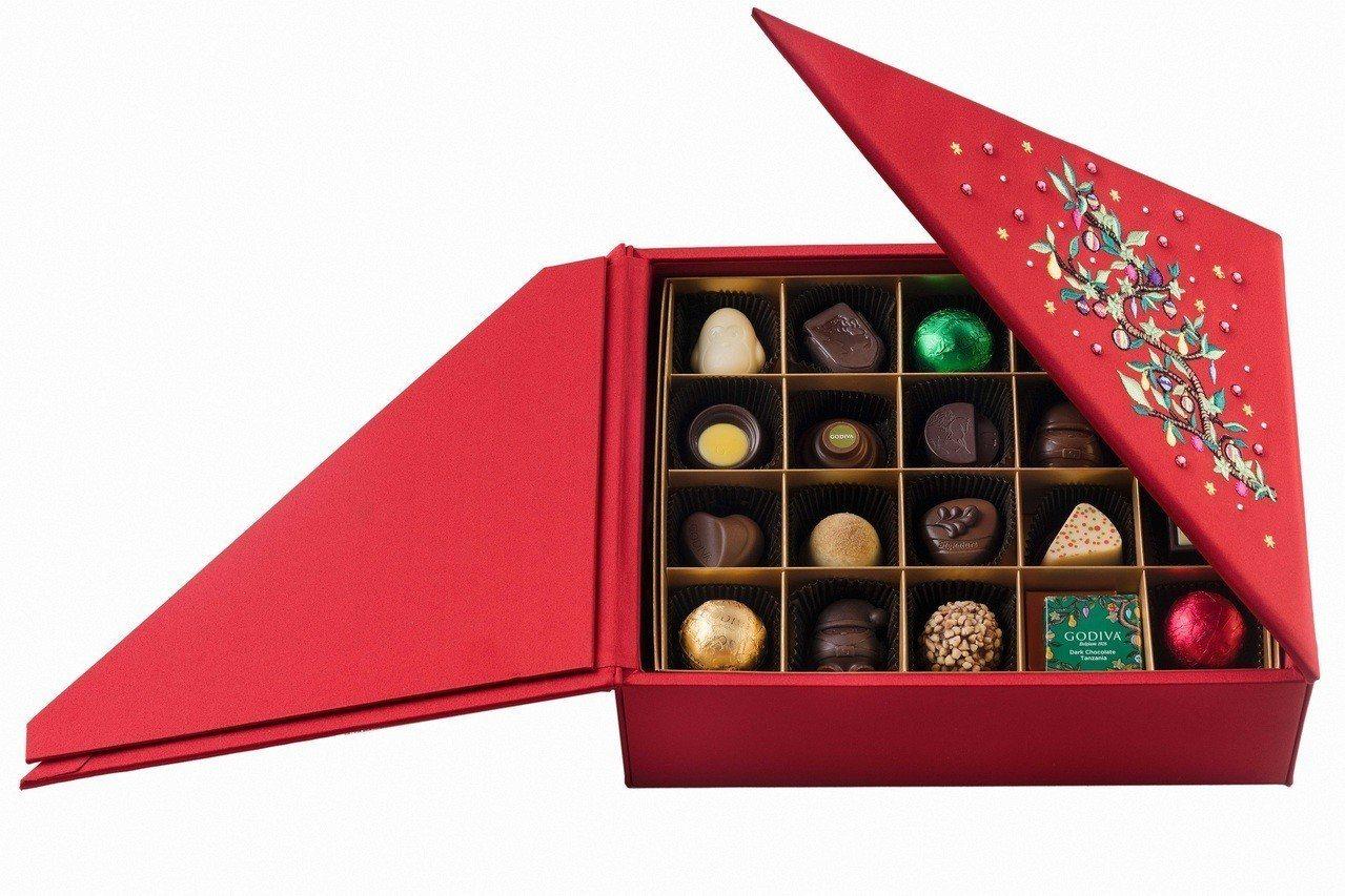 耶誕巧克力珠寶禮盒42顆裝,售價6,900元。圖/GODIVA提供