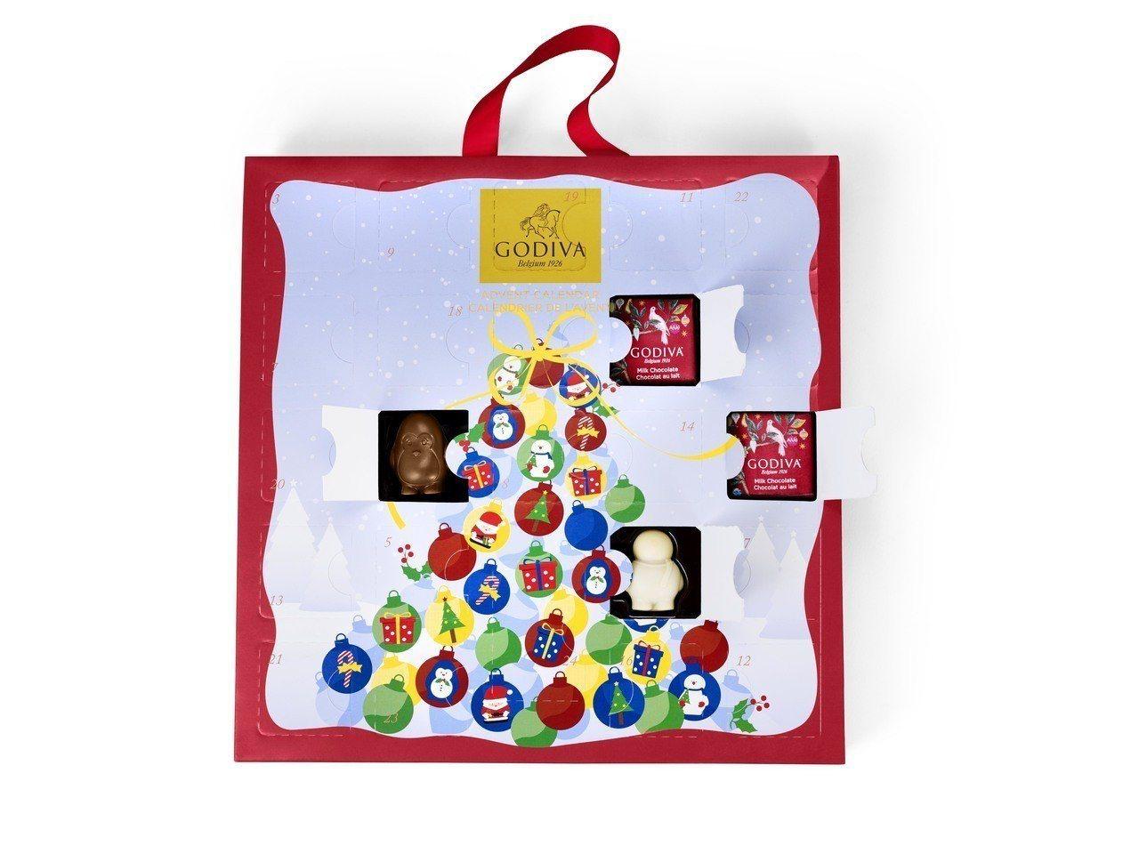 耶誕倒數日曆巧克力禮盒24顆裝,售價2,400元。圖/GODIVA提供
