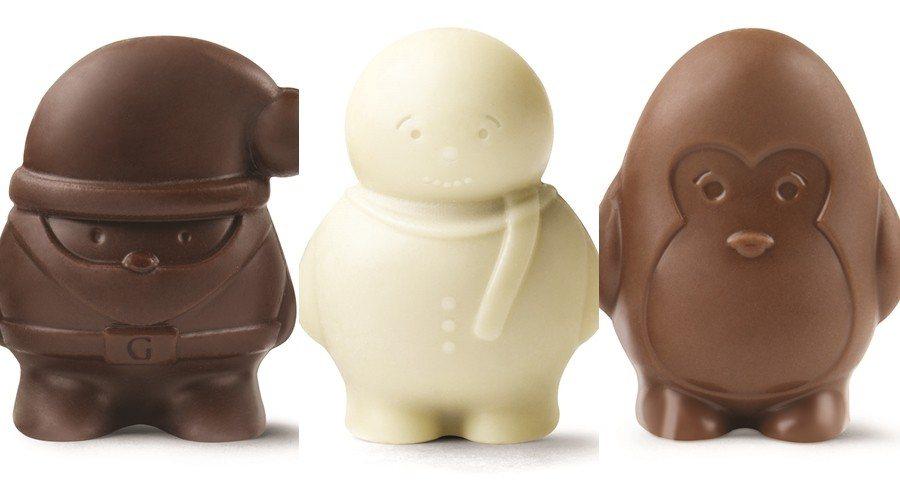 耶誕限定雪人、企鵝、耶誕老人造型巧克力。圖/GODIVA提供