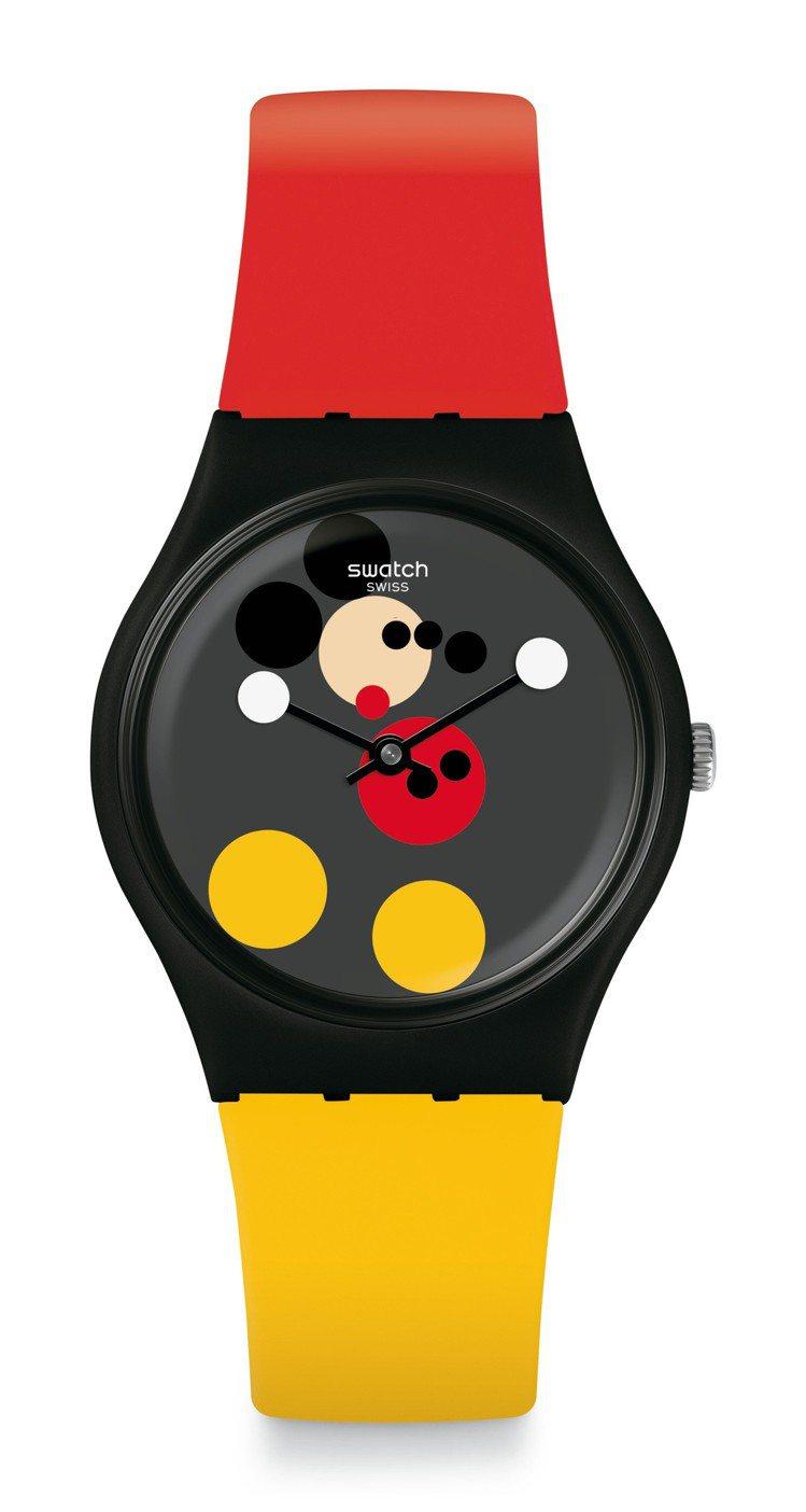 SWATCH Damien Hirst迪士尼米奇90周年藝術聯名「米奇圓舞曲」腕...
