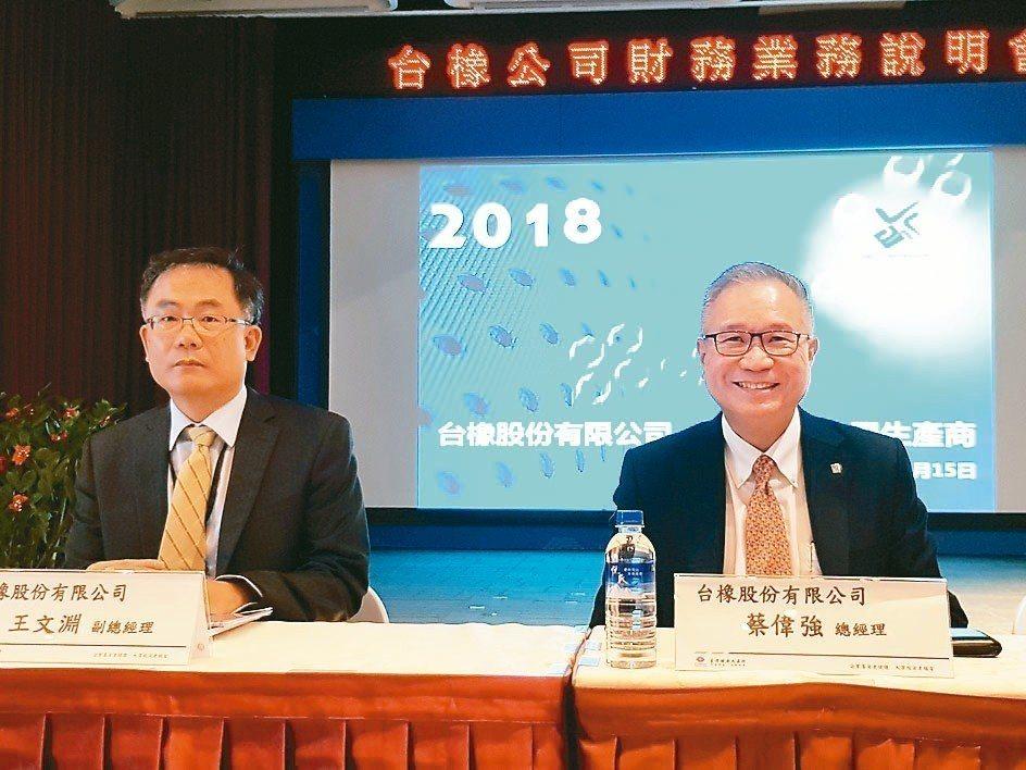 台橡總經理蔡偉強(右)與財務長王文淵。 記者曾仁凱/攝影