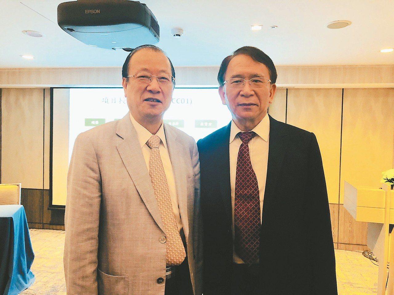 晟德集團法說會,晟德董事長林榮錦(右)與集團子公司順藥董事長蔡長海(左)均出席。...