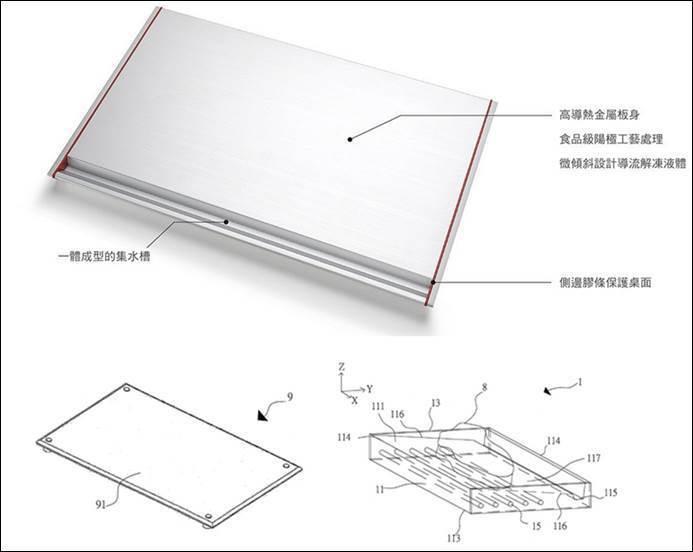 圖四、利用一體成形微傾斜設計導流來解凍液體的解凍板。 (圖片來源:奇想生活/TI...