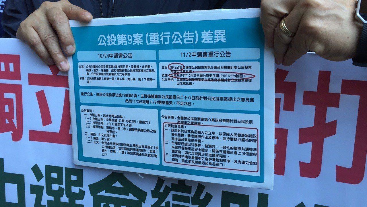 公告與重行公告之差異。記者賴佩璇/攝影。