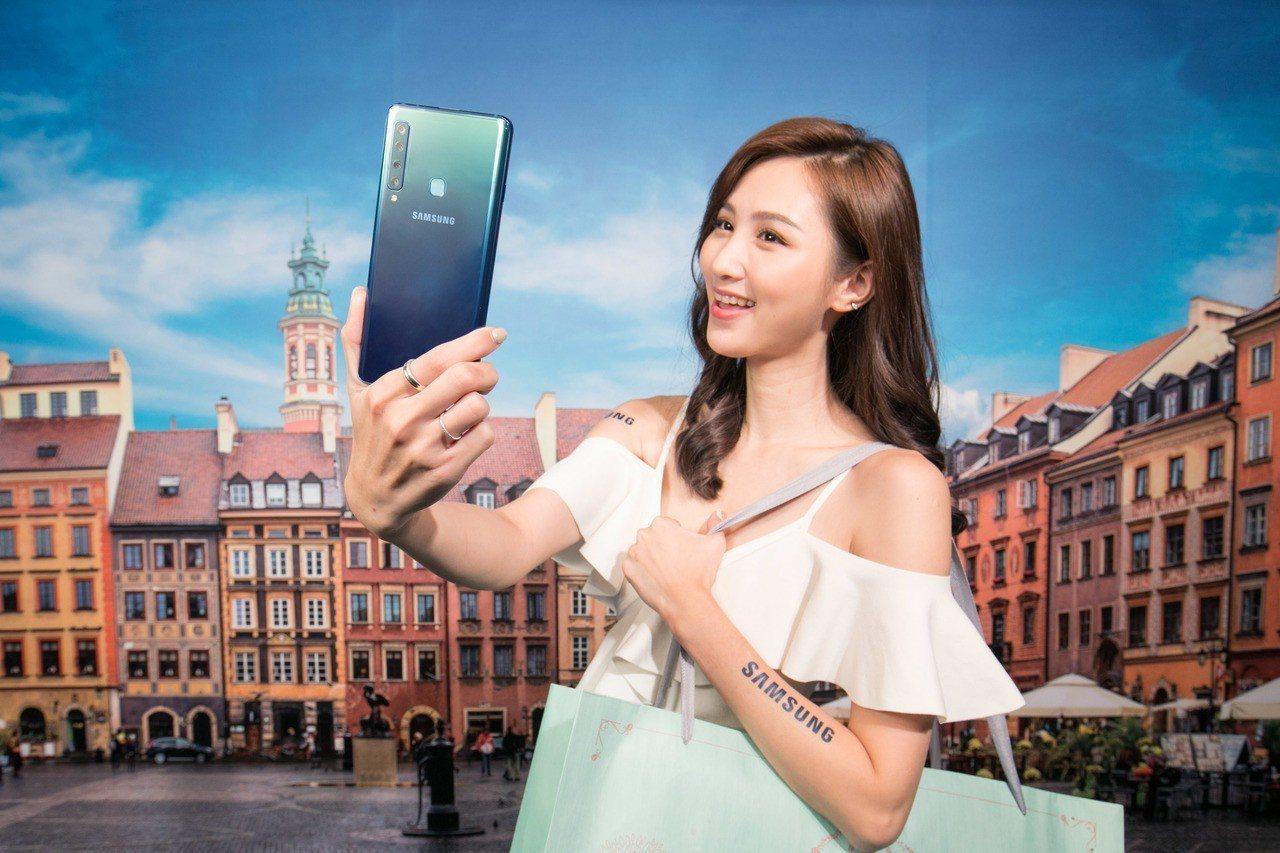 Samsung Galaxy A9的2,400萬畫素前置鏡頭搭載智慧美顏及專業打...