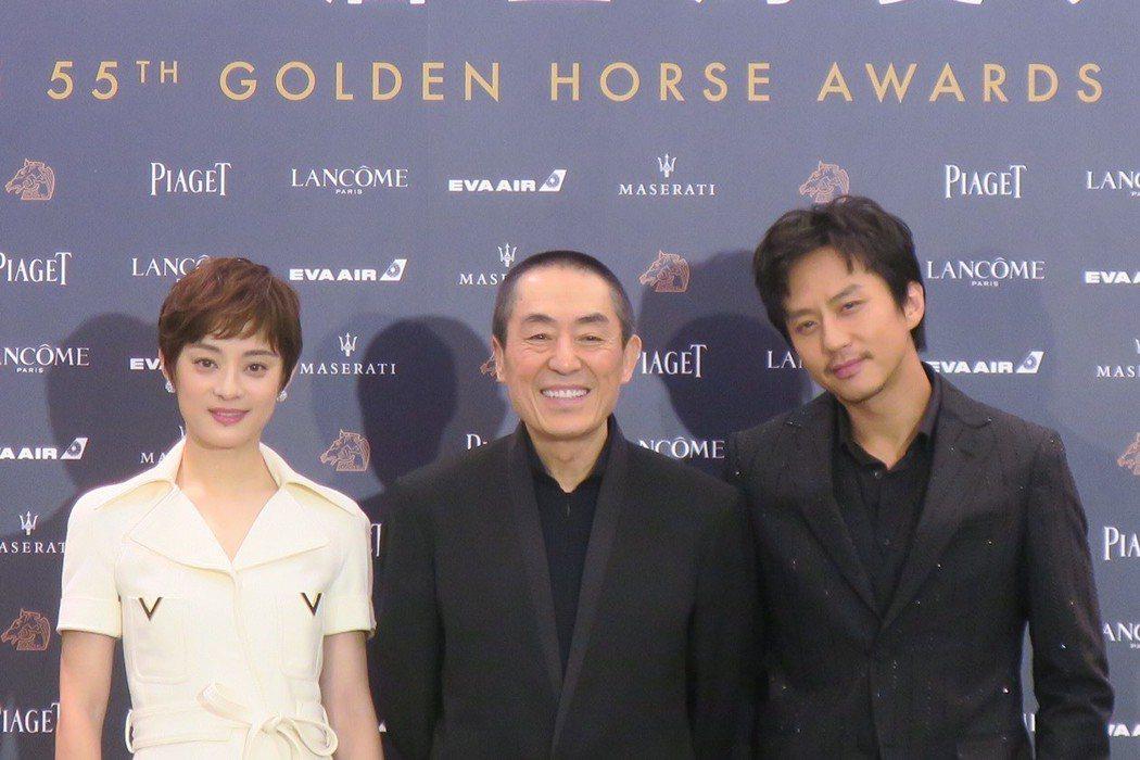 孫儷(左起)、張藝謀、鄧超合作的「影」是今年金馬獎入圍名單最大贏家。記者蘇詠智/
