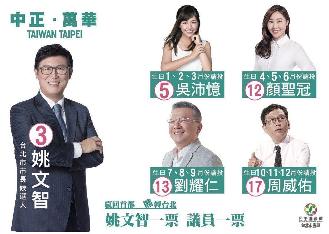 民進黨在台北市中正萬華區配票,文宣指導選民依出生月份投票。 圖/民進黨台北市黨部...