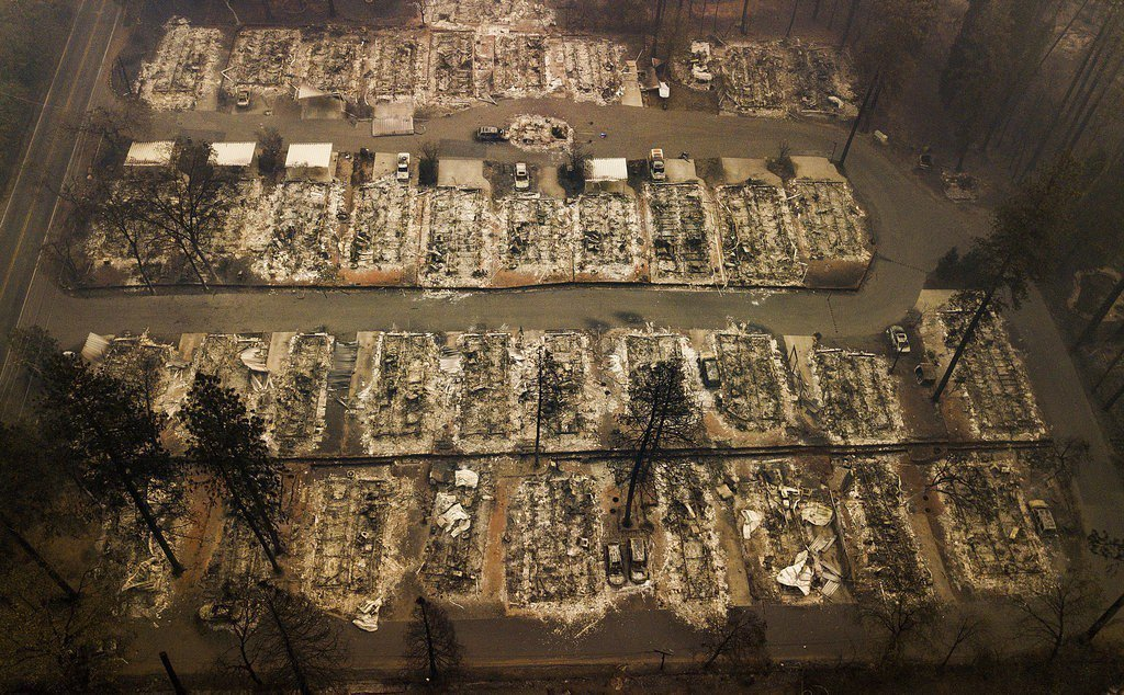 北加州山火過後,天堂鎮已成廢墟。美聯社