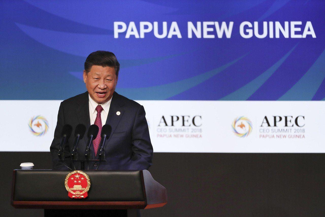 中國大陸國家主席習近平17日在APEC企業領袖峰會上發表演說。美聯社