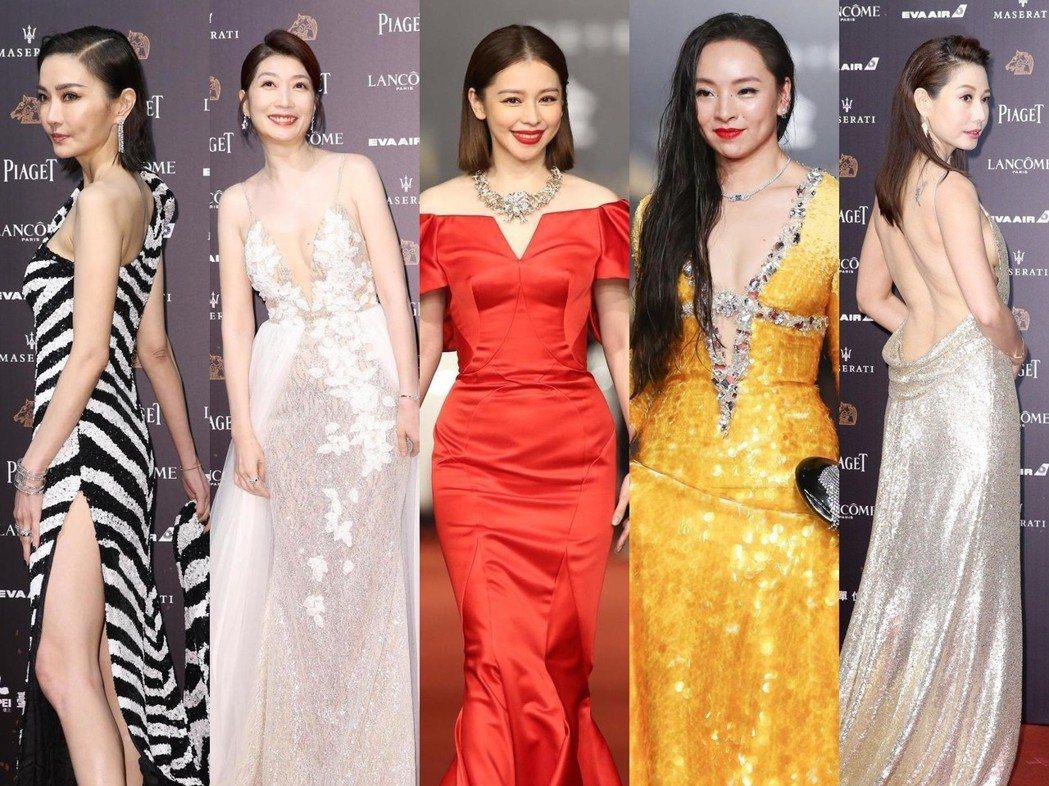 謝金燕(左起)、黃嘉千、徐若瑄、曾美慧孜、丁寧的造型各有千秋。記者鄭清元、陳立凱