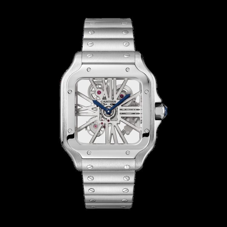 鄧超配戴Cartier Santos de Cartier鏤空精鋼系列腕表,約8...