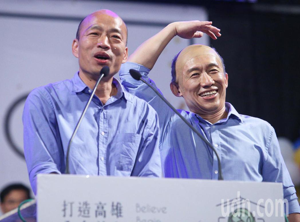 韓國瑜(左)與郭子乾(右)。記者劉學聖/攝影