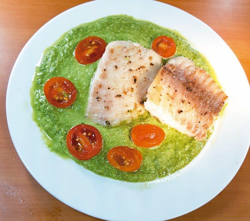 香煎鯛魚佐菠菜青醬