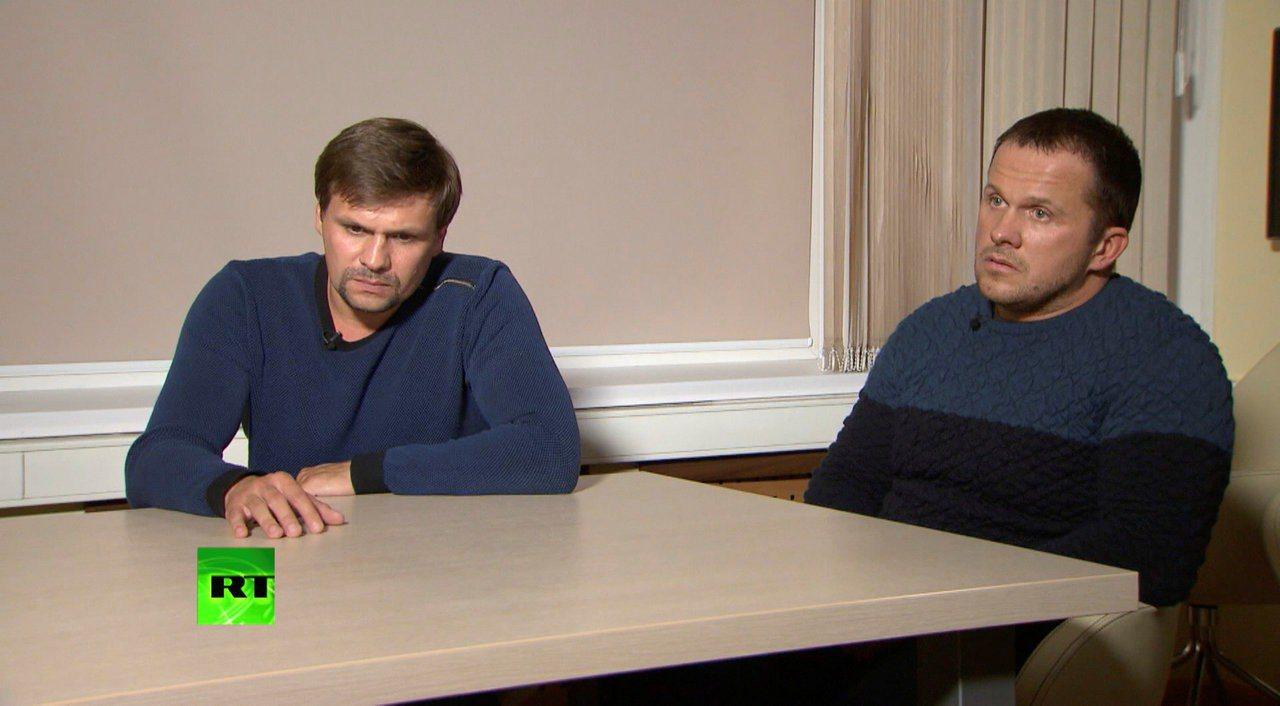 俄國男子波希洛夫(左)和裴卓夫(右)被揭發是下毒謀害史柯里帕的俄國特務,兩人今年...