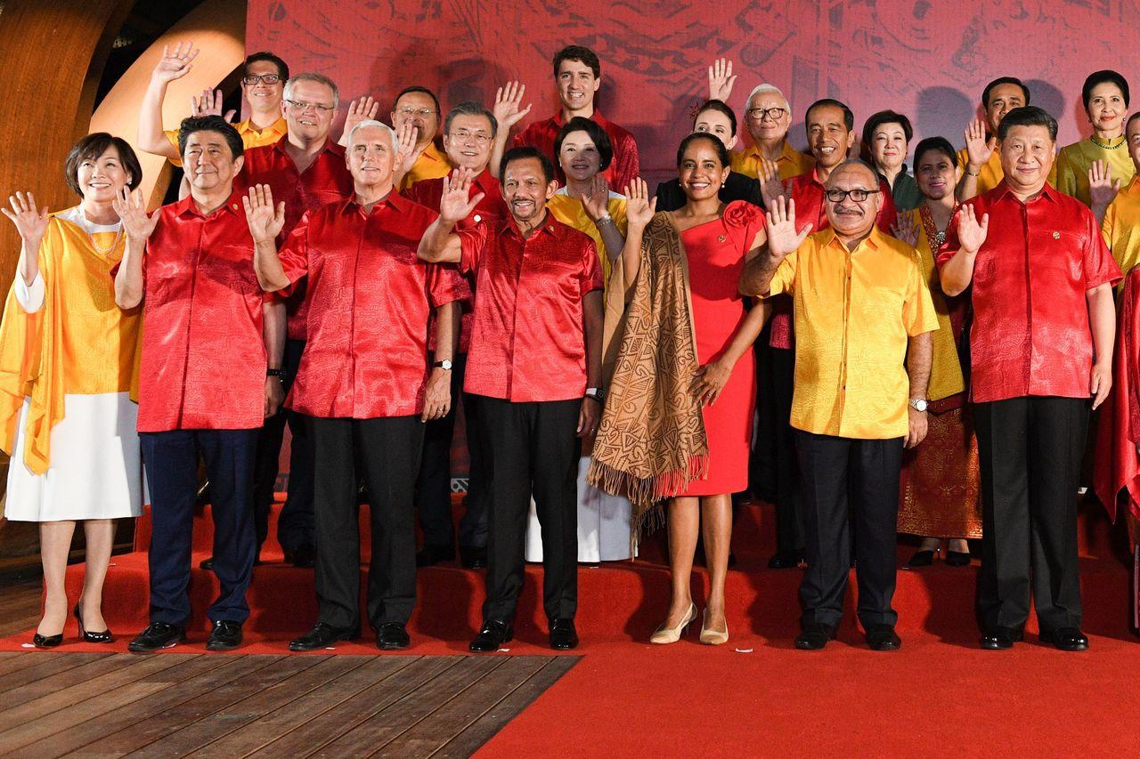 台灣領袖代表、台積電創辦人張忠謀17日出席APEC企業領袖高峰會。 法新社