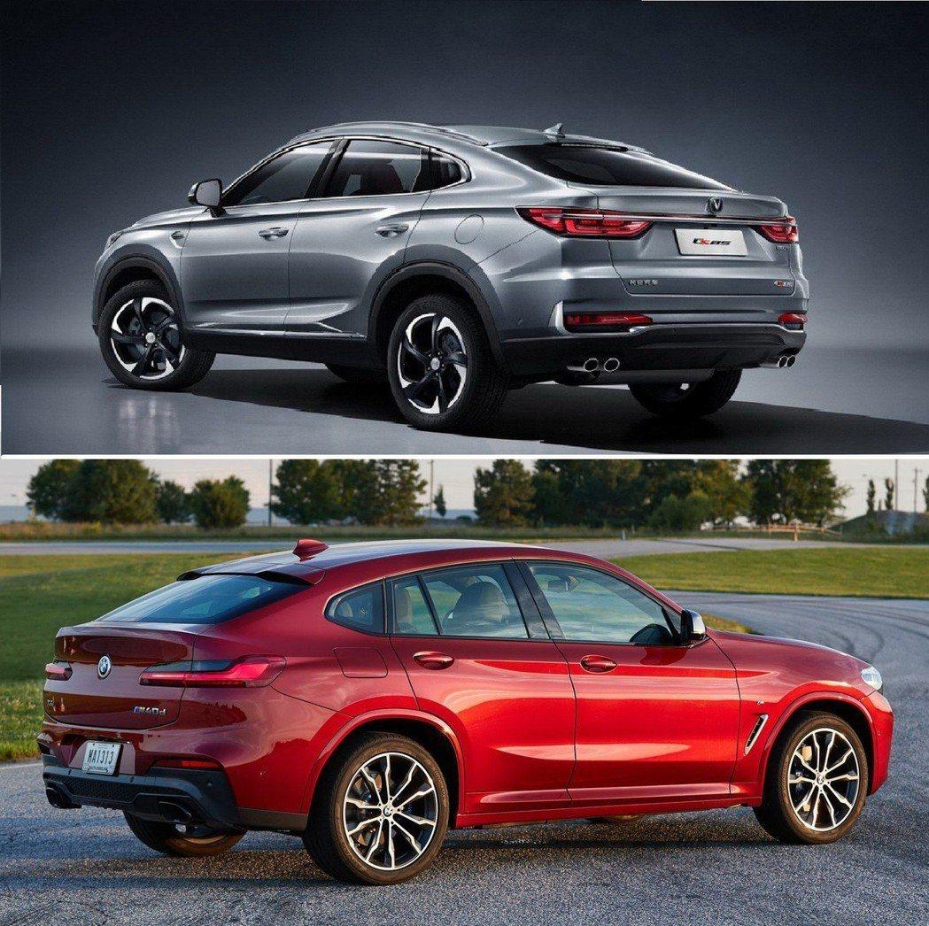 (圖上)長安CS85、(圖下)BMW X4,尾部造型設計十分神似。 摘自長安汽車、BMW